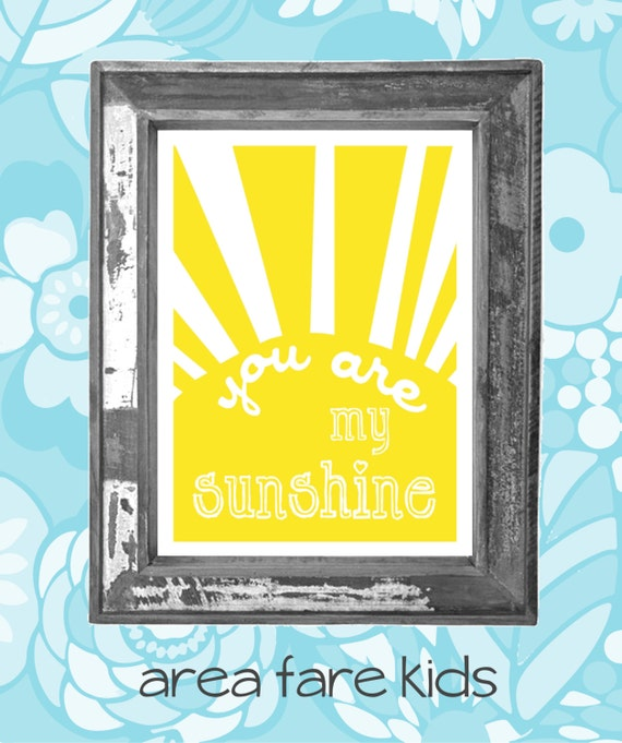 You Are My Sunshine...When Skies Are Grey Nursery Art Prints Set of Four