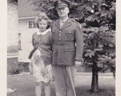 Grandpa's Girl- 1940s Vintage Photograph- WW2 Military Uniform- Breezy Fall Day- Old Photo- Family Picture- 40s Snapshot- Paper Ephemera