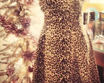 Leopard print rockabilly dress