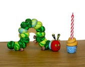 The Very Hungry Caterpillar Cupcake Candle Holder - Clay Birthday Cake Topper