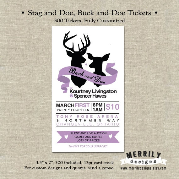 jack and jill ticket templates - 300 tickets stag and doe buck and doe tickets by
