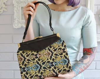 Vintage Vinyl Handbag with Detachable Tapestry Outside