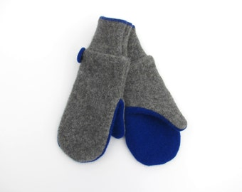 Wool Mittens Fleece Lined Gray and Cobalt Blue Recycled Wool Sweater Mittens