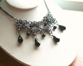 Black Teardrop Chainmaille Necklace 20'