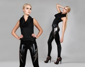 Double Lightning Bolt Leggings, Black Leather-Look Spandex Pants, Glam Rock Clothing, Heavy Metal, Rocker Style, by LENA QUIST