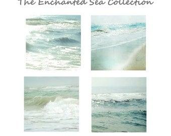 Ocean Photography Set- Four 5x5,8x8 and up Ocean Prints, Aqua Blue Sea Green Calming Seaside Wall Art, The Enchanted Sea Collection