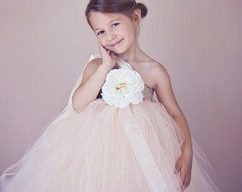 Ivory Tutu Dress Flower Girl Candlelight Champagne Ivory Tulle Tutu Dress, Flower Girl Dress for Weddings, Pageants, for Girls up to age 6/7