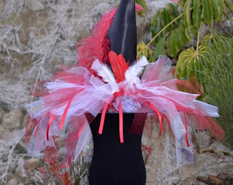 Witch Hat Red and White Over the Top Feather and Tulle Witch Hat for Costumes, Parties, Dress-Up, Halloween