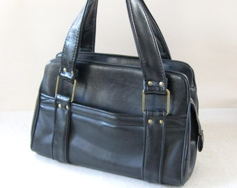 1960s Black Faux Leather Handbag Vinyl Purse Granny Bag