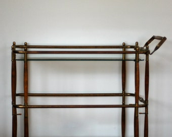 Mid Century Modern Bar Cart, Cesare Lacca Style, Vintage Brass, Wood, Glass Two-tiered Rolling Cart