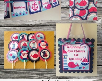 Fabulous Mini Birthday Party Package -Pink & Navy Nautical -Whale -Baby Shower -Birthday-Banner -Tags -Cupcake Toppers -Party Sign