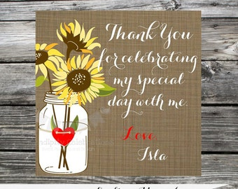 Set of 12 Personalized Favor Tags -Sunflowers -Mason Jar -Thank You Tag -Gift Tag -Baby Shower -Birthday-Sticker-Shabby Chic -burlap