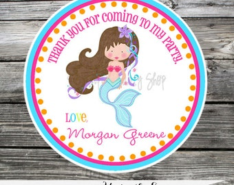 Set of 12 Personalized Favor Tags -Mermaid -Under the Sea -Thank You Tag -Gift Tag -Baby Shower -Birthday-Sticker-Mermaid Party