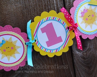 High Chair Banner -You are My Sunshine -Photo Prop -High Chair Bunting -1st Birthday -Small Banner -Sun -Pink Aqua Yellow