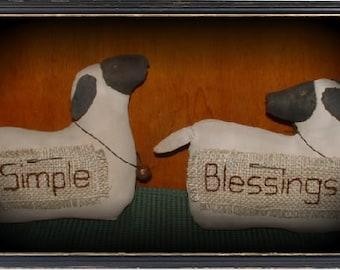 Primitive Folk Art Sheep Lamb Doll
