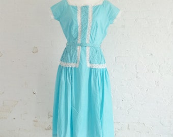 1950s Blue Cotton Fit and Flare Day Dress 50s Vintage Kay Whitney Full Circle Skirt Medium Large NOS Turquoise Rockabilly Garden Party Dress
