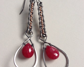 Ruby dangle earrings with rose-gold beads and silver - wirewrapped earrings