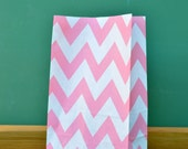 CLEARANCE SALE Baby Pink Chevron Stand Up Paper Bags -12- Candy Buffet, Party Favor, Wedding Favor - 5 x 7 Flat Bottom Bags