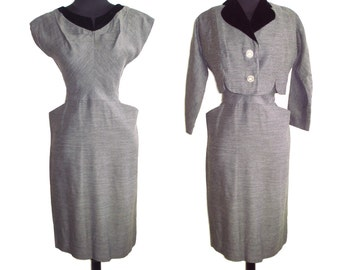 Vintage 1950s Dress . Bolero Jacket Gray Hourglass Couture Femme Fatale Garden Party Mad Man Cocktail Bombshell Retro Rockabilly Wiggle