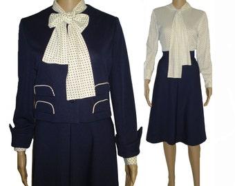 Leslie Fay 1960s Dress Matching Jacket Navy Blue Polka Dots
