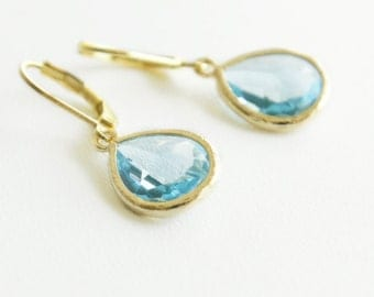Aqua Dangle Earrings Gold Earrings Dangle Bridal Earrings Wedding Earrings Bridesmaid Gift Bridesmaid Earrings Aquamarine Leverback Earrings