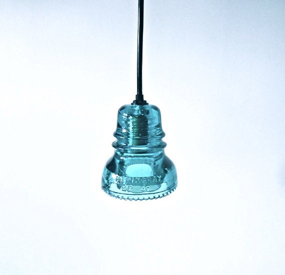 Antique Blue Glass Insulator Lights Large By Divinediscoveries