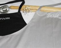Bride & Groom Apron Set - Silver Dots