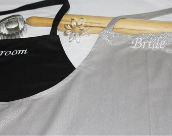 Bride & Groom Apron Set - Silver Dots - made to order
