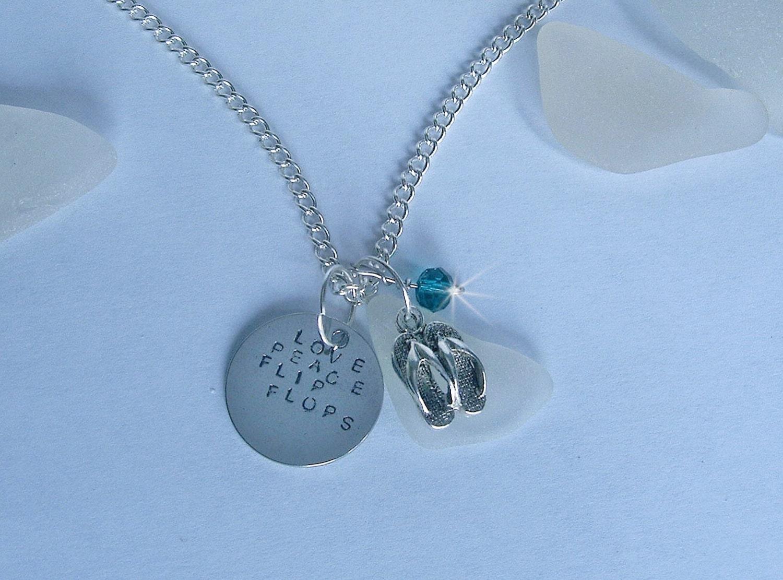 flip flop necklace love peace flip flops hand stamped sea. Black Bedroom Furniture Sets. Home Design Ideas