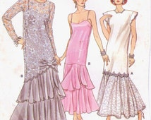 80s Womens Gatsby Style Wedding or Evening Tunic & Dress Vogue Sewing Pattern 9782 Size 8 Bust 31 1/2 Vintage 80s Sewing Patterns