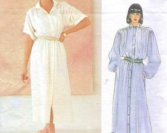 80s John Anthony Womens Lagenlook Shirtdress Vogue Sewing Pattern 1126 Size 8 10 12 Bust 31 1/2 to 34 UnCut Vogue American Designer Pattern