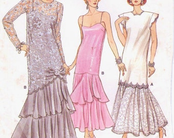 80s Womens Gatsby Style Wedding or Evening Tunic & Dress Vogue Sewing Pattern 9782 Size 14 Bust 36 Vintage 80s Sewing Patterns