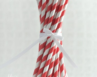 Striped Paper Straws - Red