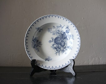 Antique French Transferware  Blue Flore Bowl Sarreguemines