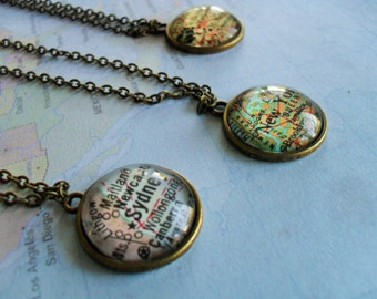Custom MAP Necklace / Map Pendant  / You Pick The Location / Any City / Vintage map Necklace / Map Jewelry / unique gift / gift boxed
