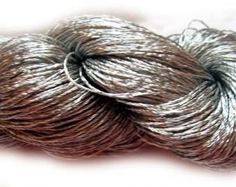 Viscose Silk Yarn: Shining, Superfine / Lace weight, bright crochet yarn, color dark silver gray (128) Yarn Ajur Eq
