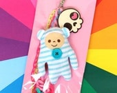 Cute Candy Deco bag charm keychain - Little Candy Gnome in blue