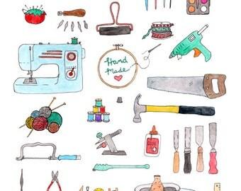 Craft supplies print 8.5 x 11