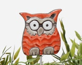 Owl garden art - plant stake - garden decor - owl ornament  - ceramic owl - small - red