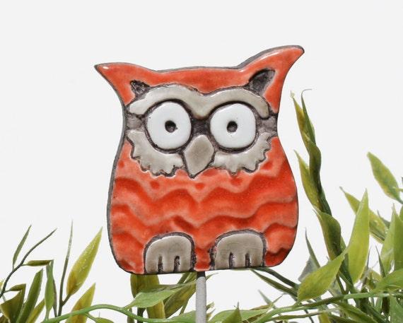 Owl garden art - plant stake - garden decor - owl ornament  - ceramic owl - small - red