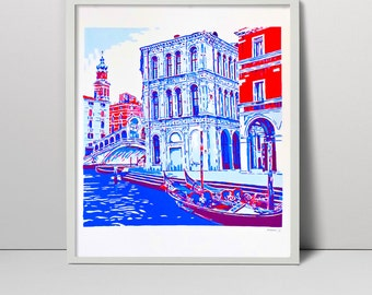 Original handmade screenprint Grand canal in Venice Italy screen print art Venetian Venezia Italian Renaissance  water grand gondola Rialto