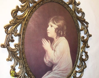 """Prayer Girl Picture in a Brass Frame with Glass 10 1/2"""" x 13 1/4"""""""
