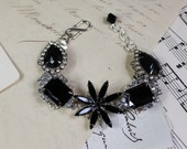 Vintage Earring Bracelet- Jet Black Glass with Rhinestones- Sterling Silver and Silver Plated- One of a Kind