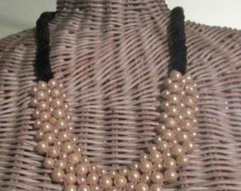 Art Deco Flapper Pearl Velvet Necklace / 5 Strand Pearl Necklace / Elegant 1930s