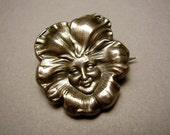 RESERVED For Cat. William Link Unger Brothers Newark Art Nouveau Pansy Flower Girl Maiden Face Repousse Sterling Silver Brooch Pin Winifred