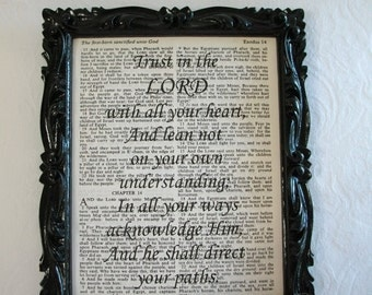 """Recycled Vintage Bible Book Page Art Print """"Trust In the Lord With All Your Heart..."""", Book Page Art, Wall Decor"""