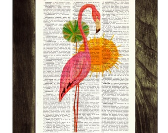 Summer Sale Pink Flamingo vintage wall art  Dictionary Book Print  Altered art on upcycled book pages ANI176