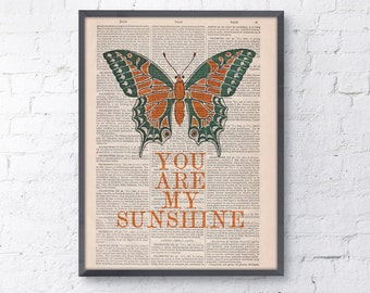 You are my sunshine Quote poster Print  - Butterfly Wall Art Home Decor, typographic print, nursery wall art TYQ042