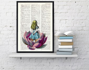 Summer Sale Alice in wonderland Alice in wonderland Looking for a butterfly Collage Print on Vintage Dictionary Book art ALW014