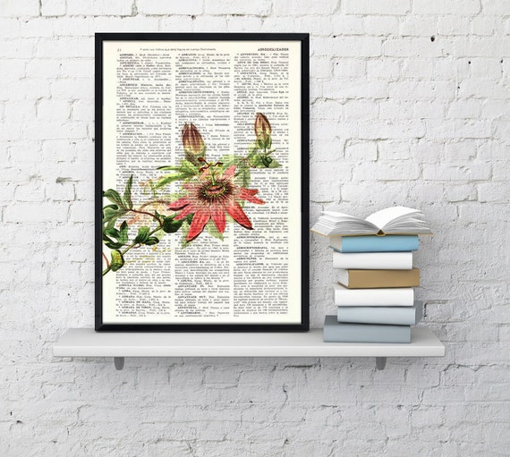 Passion Flower book print - Book print page - Upcycled book page wall art book print BFL128